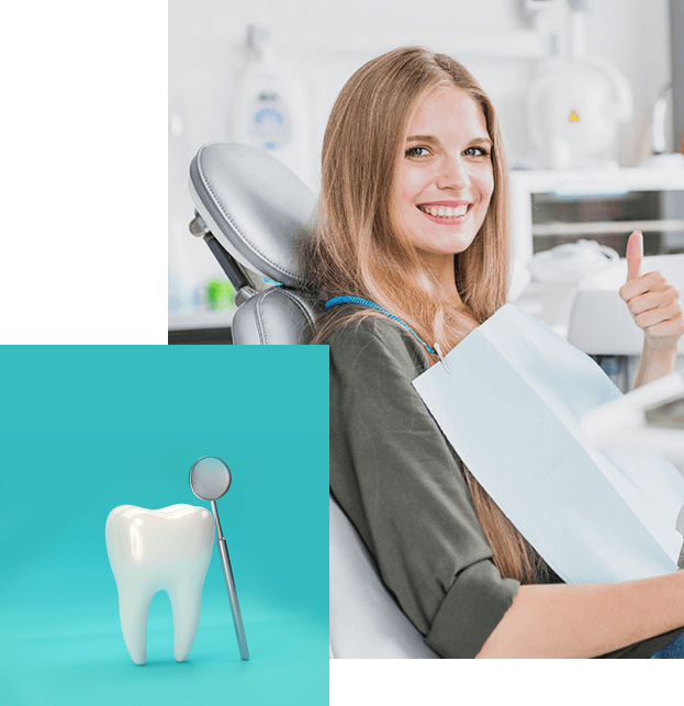 A smiling woman sitting on our dental chair with an image of a tooth 3d model