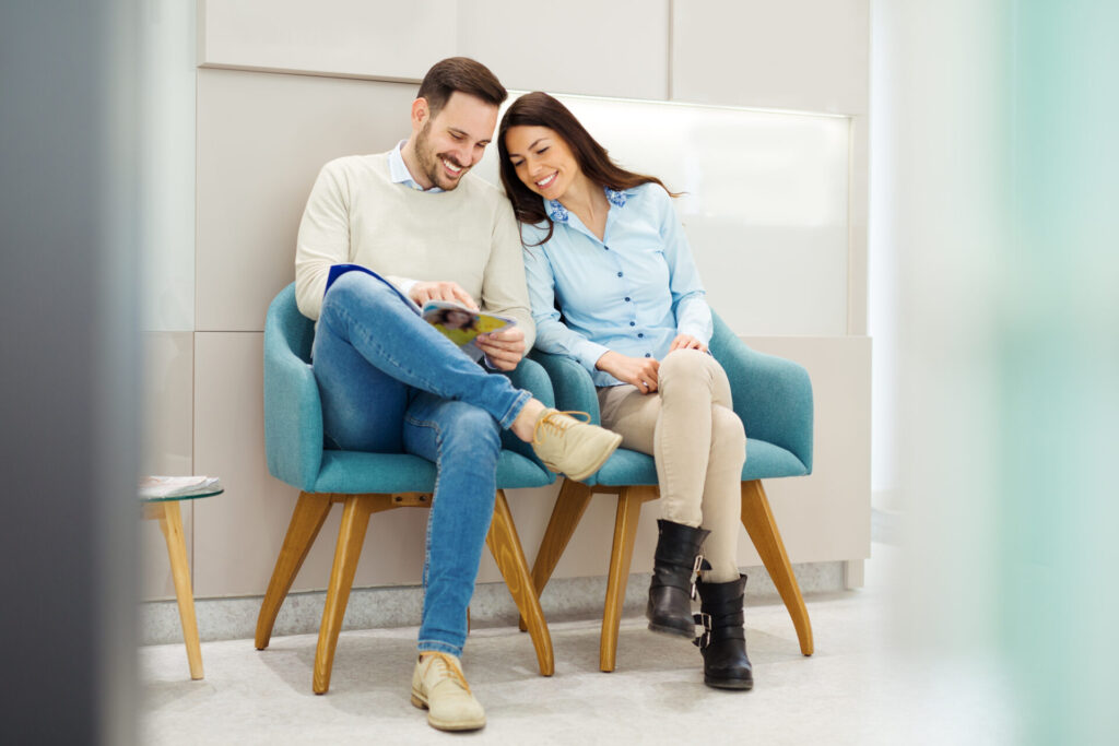 Patients comfortably sitting in our waiting area